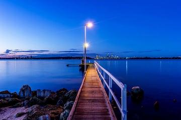 Dock cast in blue light