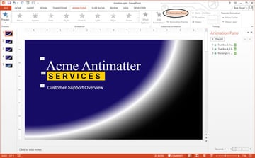 button to display animation pane