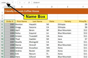 name box with one column defined