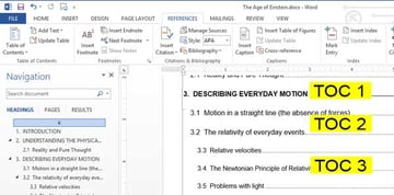 table of contents after applying new style formatting