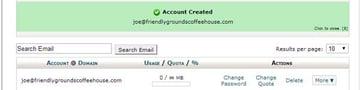 account confirmation screen