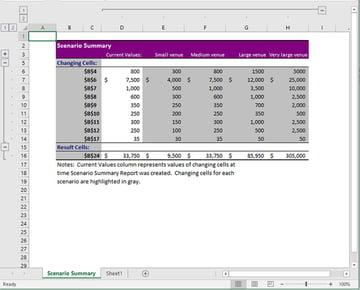 Scenario Summary worksheet