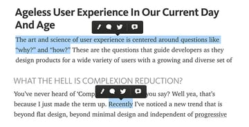 Highlighted word with the sharing button in Mediumcom