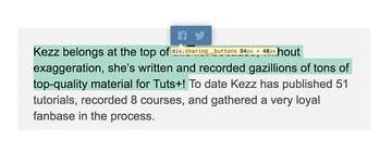 Inline sharing menu size inspected through Chrome DevTools