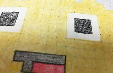 Close up of pixel art characters face D