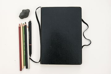 My trusted notebook pencils and eraser Never leave home without them