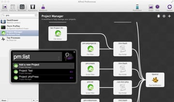 Alfred Workflow for Project Management
