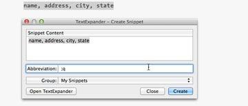 TextExpander Assigning Expanding Key