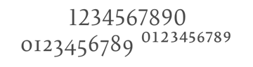 Many fonts contain multiple numeral styles