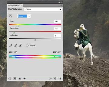 knight huesaturation cyans