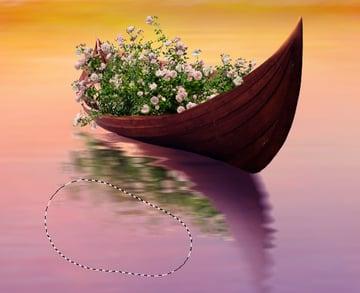 boat roses reflection masking