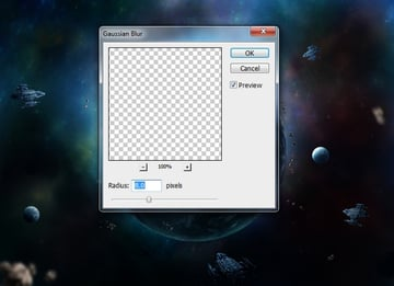 more asteroids with gaussian blur