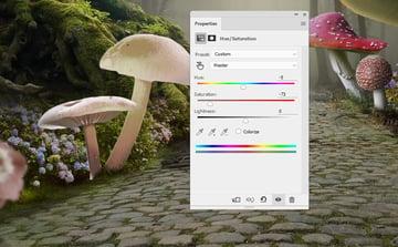 mushrooms 7 hue saturation