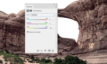 Photoshop Adjustment Layers - arch color balance highlights