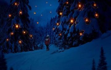 photo manipulation - glowing winter night final result