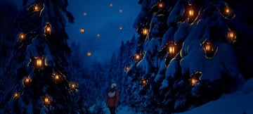 photo manipulation - paint snowy foliages light reflection