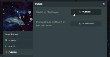 Dialog box for publishing on PlayCanvas