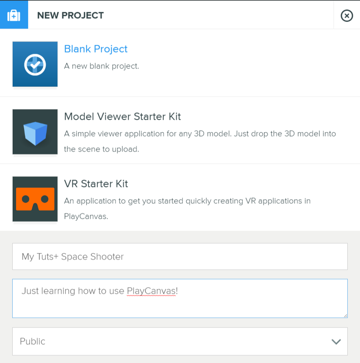 Dialog box for creating a new project