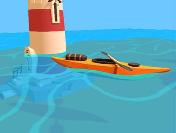 Kayak and lighthouse in water
