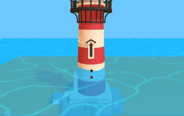Lighthouse in water with two marked pixels