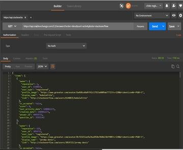 API response to GET request