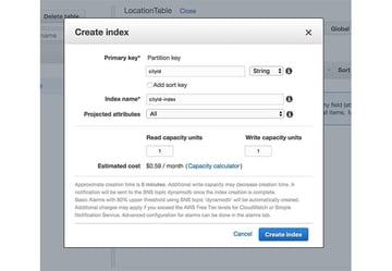 Create a secondary index in DynamoDB