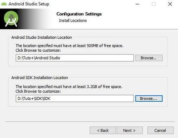 Android Studio—choose installation location