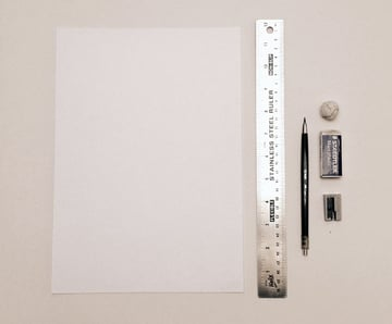 Our basic drawing tools and the sheet of premium A4 paper we will be using