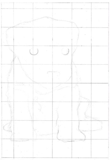 Continue using only basic shapes and rough guidelines to construct the figure
