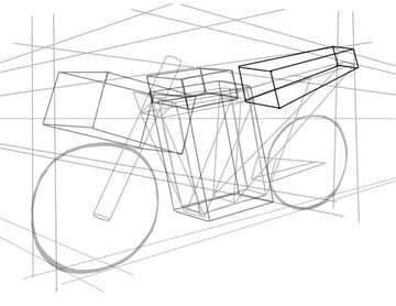 Another long rectangle creates the bikes long tail