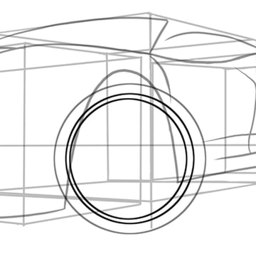 Draw two more circles to begin our first wheel rim