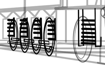 Now we can draw in the suspension parts in more detail