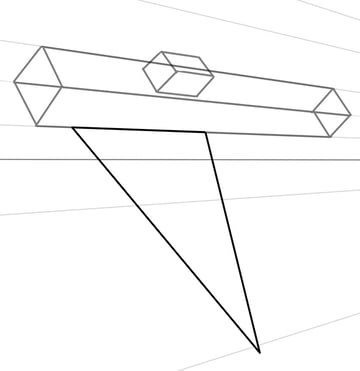 A skewed triangle will make a base for the wings