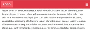 How the responsive header looks like when our scrolling exceeds the limit of 150px