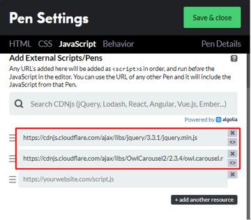 JavaScript settings on CodePen