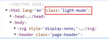 The html light mode class