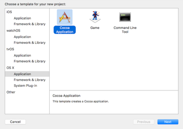Create A New Cocoa Application Project in Xcode 8