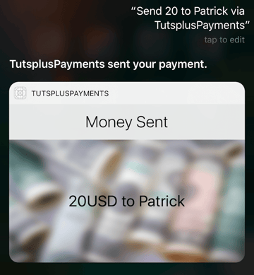 Final result of the custom UI displayed by Siri