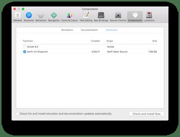Swift 40 snapshot setup in Xcode 83