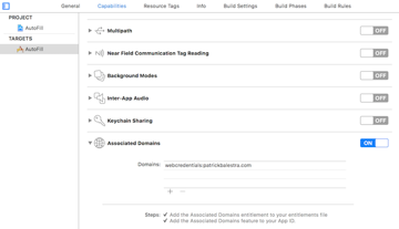 Xcode Capabilities section with Associated Domains turned on