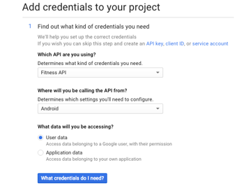 Credentials Configuration Screen
