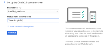 Configuring the Fitness API Consent Screen