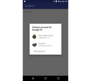 Google Play Services Email Selection Screen