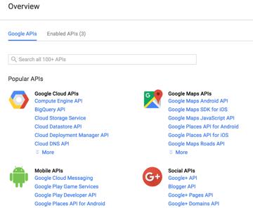 Google API Console Overview screen