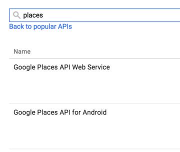 Google API Console Enable Places API