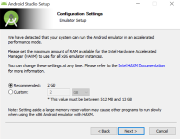 Emulator Setup Selection Screen