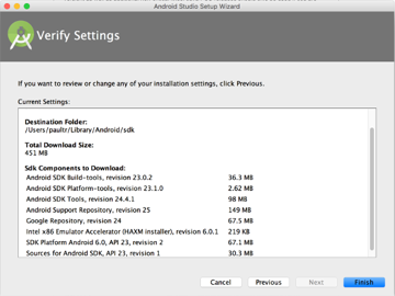 Verify Android Studio Settings