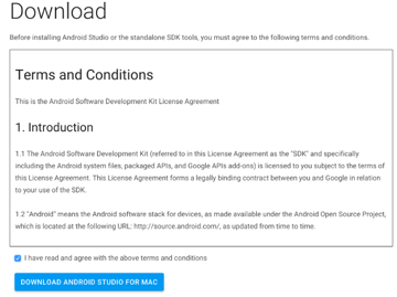 Android Studio Terms and Conditions Page
