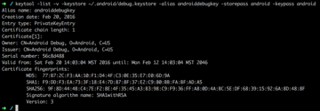 Terminal window for creating credentials