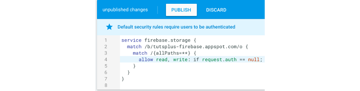 Authentication rules for Firebase storage access